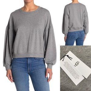 UGG Adlin Sweater Puff Sleeve Gray Sweatshirt Cute